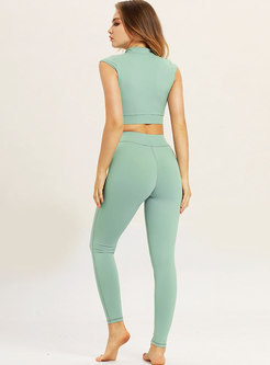 Brief Standing Collar Zipper Yoga Top & Pure Color Pants