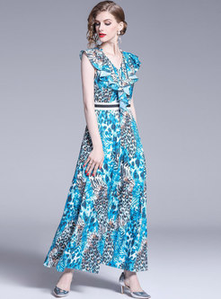 Chic Blue Leopard V-neck Sleeveless Party Maxi Dress