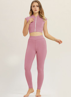 Stylish Pure Color Sleeveless Yoga Top & Sheath Pants