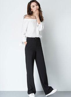 Solid Color High Waist Long Wide Leg Pants