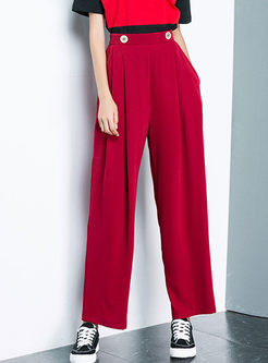 Fashion Elastic Waist Chiffon Wide Leg Pants