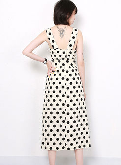 Fashion Square Neck Polka Dot A Line Dress