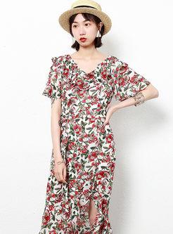V-neck Flare Sleeve Print Chiffon Slit Dress