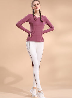 Brief V-neck Long Sleeve Pullover Top