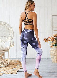Trendy Print Hollow Out High Waist Tracksuit