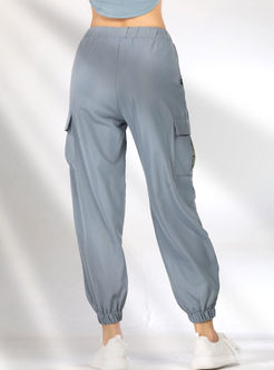 Casual Elastic Waist Tied Sweatpants With Pocket