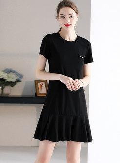 Lace Splicing O-neck Beaded Slim Mini Dress