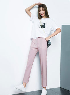 Work Casual Pure Color Straight Long Pants