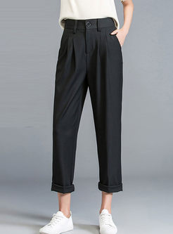 Black High Waist Loose Harem Pants