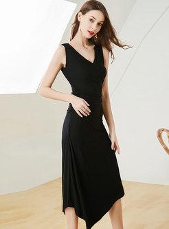 Sexy V-neck Sleeveless Asymmetric Slim Dress