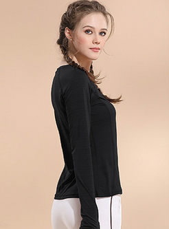 Solid Color Pullover Slim Yoga Top
