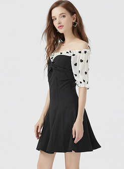 Print Splicing Slash Neck Slim Mini Dress