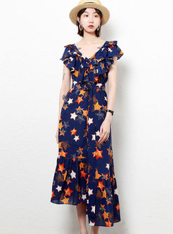 Fashion Ruffled Sleeve High Waist Asymmetric Dress