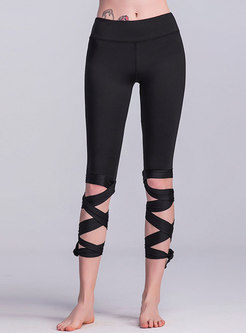 Chic Solid Color Hollow Out Tied Yoga Pants