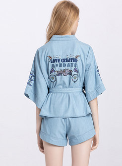 Denim V-neck Embroidered Bat Sleeve Top & Shorts