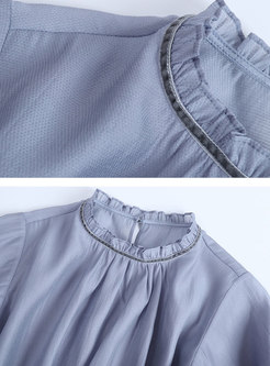 Elegant Ruffled Collar Tie-waist Slim Top