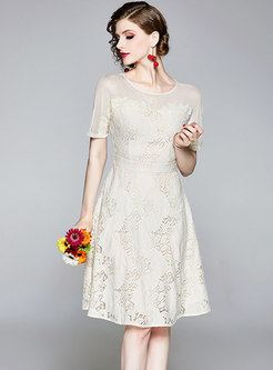 Solid Color O-neck Lace Hollow Out Sweet Skater Dress