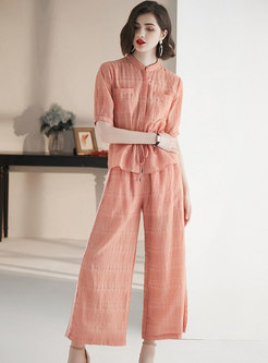 Stand Collar Tie-waist Top & Elastic Waist Straight Pants