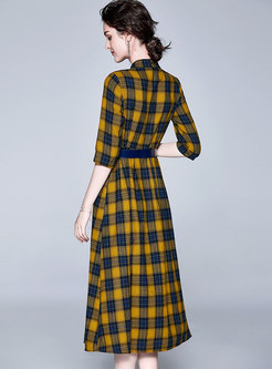 Plaid Stand Collar Half Sleeve Belted Skater Dress