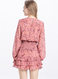 Floral V-neck Chiffon Top & Elastic Waist Cake Skirt