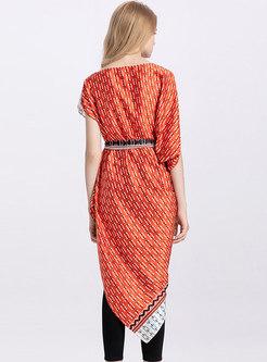 Stylish Print O-neck Belted Asymmetric Top