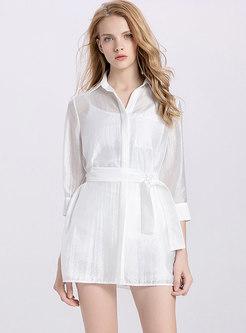 Elegant Lapel Belted Mini Dress & Shorts