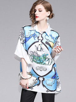 Casual Print Lapel Loose Irregular Blouse