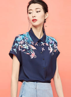 Fashion Single-breasted Print Loose Blouse