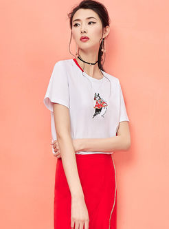 Brief Color-blocked O-neck Pullover T-shirt