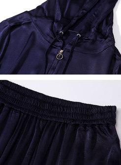 Casual Color-blocked Hooded Zipper Top & Wide Leg Pants