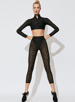 Sexy Leopard Lace Perspective Stand Collar Tracksuit