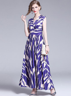 Elegant V-neck High Waist Sleeveless Big Hem Maxi Dress