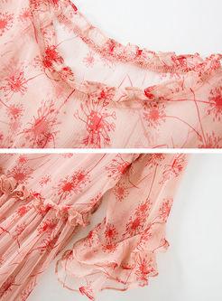 Three Quarters Sleeve Print Skater Dress With Cami