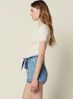 All-matched High Waist Tied Denim Casual Shorts