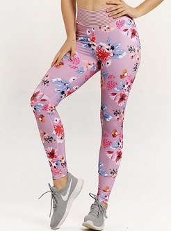 Print Elastic Waist Tight Fitness Pants