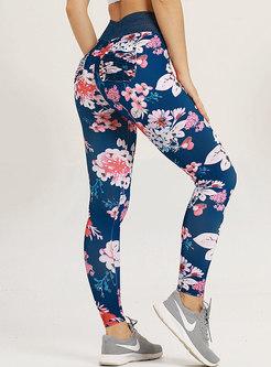 Print Elastic Waist Tight Yoga Pants