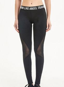 Fashion Mid-waist Letter Print Perspective Pants