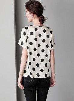 Stylish Polka Dot O-neck Loose T-shirt