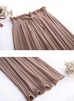 Solid Color Elastic Waist Chiffon Pleated Pants