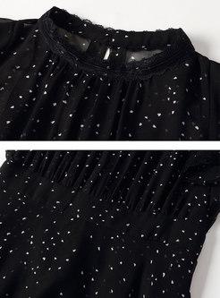 Polka Dot Stand Collar Perspective Slim Dress