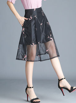 High Waist Print Perspective Mesh A Line Skirt