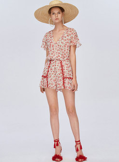 Chic Floral Print V-neck Slim Gathered Waist Rompers
