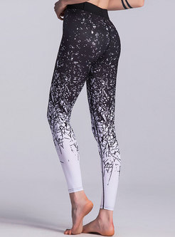 Chic Color-blocked Print Tight Yoga Pants