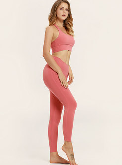 Pure Color Scoop High Waist Tight Tracksuit