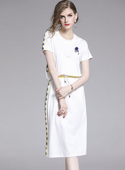 Casual O-neck Backless Elastic Waist T-shirt Dress