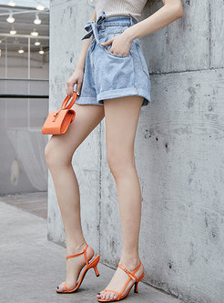 Denim High Waist Belted Shorts