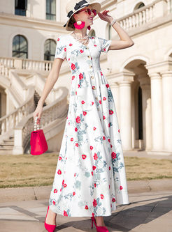 Retro V-neck Single-breasted Print Big Hem Dress
