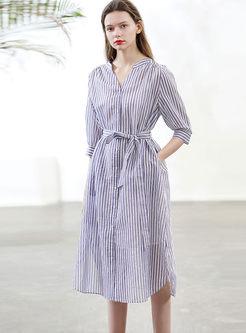 Casual Three Quarters Sleeve Stripe Dress With Cami