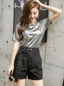 Chic High Waist Rivet Belted Shorts