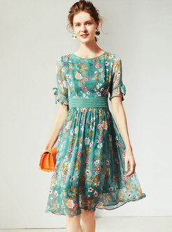 Summer Gathered Waist Slim Print Pleated Skater Dress